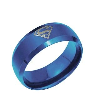 Other - Blue Stainless Steel Superman Ring